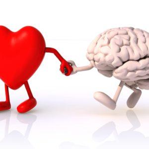 Emotionalen Stress reduzieren, Herz und Kopf vereinen, Cartoon Herz nimmt Gehirn an der Hand