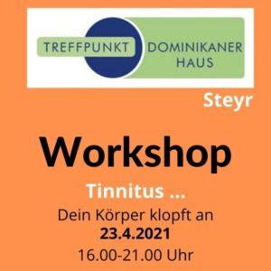 Einladung zum Tinnitus Workshop, Logo Dominikaner Haus Steyr, oranger Hintergrund