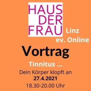 Einladung zum Tinnitus-Vortrag, Logo von Haus der Frau, oranger Hintergrund