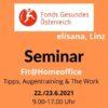 Seminareinladung Fit@HOmoffice, FGÖ, Oranger Hntergrund